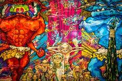 ` Czerwony demon i Błękitny demon z 48 Arhats ` Takashi Murakami fotografia royalty free