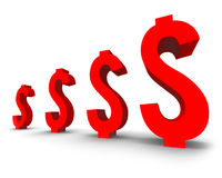 Czerwony dolarowy symbol Zdjęcie Royalty Free