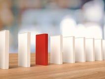 Czerwony domino dla przywódctwo pojęcia Obraz Royalty Free