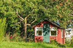 Czerwony drewniany dom w ogródzie w Szwecja fotografia stock