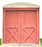 Czerwony drewniany drzwi Obraz Royalty Free