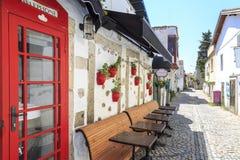 Czerwony drzwi z kwiatami z czerwonymi wazami na ulicie Alacati, Cesme obraz stock
