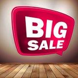 Czerwony duży sprzedaży mowy bąbel na drewnianej podłoga. EPS 10 Fotografia Stock
