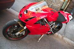 Czerwony Ducati 749, zamyka w górę fotografii Fotografia Stock