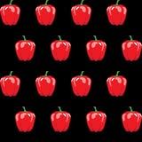Czerwony dzwonkowego pieprzu zapasu wzór na czarnym tle dla tapety, wzór, sieć Obraz Royalty Free
