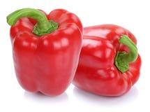 Czerwony dzwonkowy pieprz pieprzy papryk papryk warzywa odizolowywającego na w Obrazy Stock