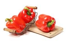 Czerwony dzwonkowy pieprz pieprzy papryk papryk warzywa jedzenie Obraz Royalty Free