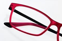 Czerwony eyeglass ramy zakończenie up Zdjęcie Royalty Free