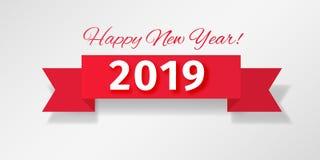 Czerwony faborek z witać Szczęśliwego nowego roku 2019! royalty ilustracja