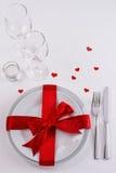 Czerwony faborku stołu set Zdjęcie Royalty Free