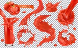czerwony farby pluśnięcie Pomidor, truskawki kartonowe koloru ikony ustawiać oznaczają wektor trzy Fotografia Royalty Free