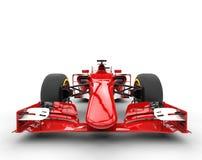 Czerwony formuła jeden samochód - frontowy widok zdjęcia royalty free