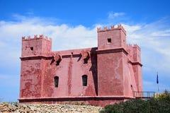 Czerwony fort przy Melleiha, Malta Zdjęcia Royalty Free