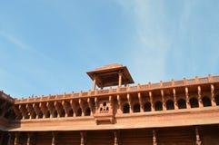 Czerwony fortu balkon Fotografia Royalty Free