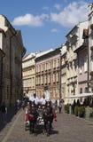 Czerwony fracht z koniami w Krakow Fotografia Stock