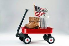 Czerwony furgon i nagrody zdjęcia stock