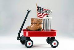 Czerwony furgon i nagrody zdjęcie royalty free