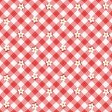 Czerwony gingham tkaniny płótno z kwiatami, bezszwowy wzór zawierać Fotografia Stock