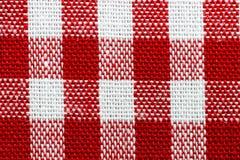 Czerwony gingham tkaniny zakończenie up Zdjęcia Royalty Free