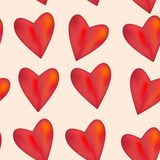 Czerwony glansowany błyszczący trójwymiarowy serce 3d na różowym tle s Zdjęcia Stock