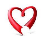 Czerwony glansowany tasiemkowy serce Zdjęcia Royalty Free