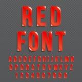 Czerwony glansowany wektorowej chrzcielnicy lub czerwieni abecadło Rewolucjonistki barwiony typeface Rewolucjonistki barwionego a royalty ilustracja