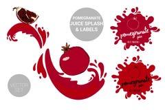 Czerwony granatowiec z ziarnami na soków pluśnięciach Organicznie owoc przylepia etykietkę etykietki i granatowa soku tekst royalty ilustracja