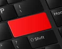 Czerwony guzik na klawiaturowego niebezpieczeństwa pustym symbolu dla teksta Obrazy Royalty Free