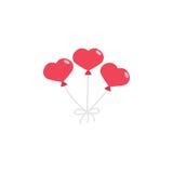 Czerwony hearth kształtujący balony Fotografia Stock