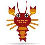 Czerwony homar na białym tle Obrazy Royalty Free