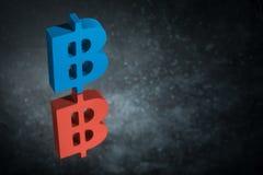 Czerwony i Błękitny Bitcoin waluty znak Z Lustrzanym odbiciem na Ciemnym Zakurzonym tle ilustracji