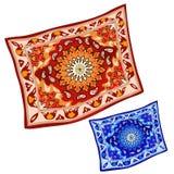 Czerwony i błękitny dywan w kreskówka stylu na ścianie Obrazy Stock