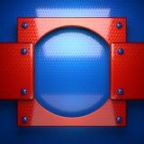 Czerwony i błękitny metalu tło 3d odizolowywający odpłacający się wideo biały świat Zdjęcie Royalty Free
