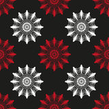 Czerwony i biały abstrakt kwitnie na czarnego tła bezszwowym wzorze Zdjęcia Royalty Free