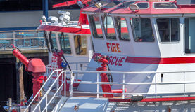 Czerwony i Biały Fiireboats budynków nabrzeże Seattle Waszyngton Fotografia Royalty Free