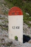 Czerwony i biały kamień milowy Obraz Royalty Free