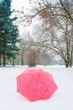 Czerwony i biały parasol na śniegu w parkland zdjęcia stock