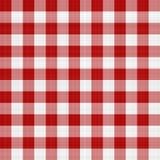 Czerwony i Biały Pykniczny Tablecloth Fotografia Royalty Free