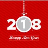 Czerwony i biały obwieszenie ornamentu nowego roku plakat Obrazy Stock