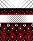 Czerwony i czarny bezszwowy koronka wzór z fishnet na bielu Zdjęcie Royalty Free