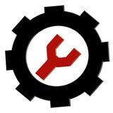 Czerwony i czarny 3D usługa narzędzia piktogram Wektor projektujący 3D symbol na kwadratowym białym tle, eps kartoteka ilustracja wektor