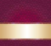Czerwony i złocisty luksusowy rocznik tapety tło Obraz Stock