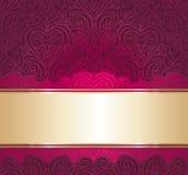 Czerwony i złocisty rocznika zaproszenia tło Zdjęcia Stock
