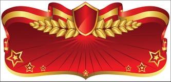 Czerwony i złocisty sztandar ilustracja wektor