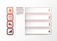 Czerwony Infographic szablon z opcjami, krokami lub procesami 4, Wektorowy układ dla biznesowego infographics z marketingowymi ik ilustracji