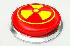 Czerwony jądrowy raźny guzik i znak dla niebezpieczeństwa odizolowywającego na białym tle Zdjęcia Royalty Free