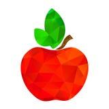 Czerwony jabłczany wektorowy wielobok z dwa zielonymi liśćmi Obraz Royalty Free