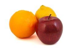 Czerwony jabłko, żółta cytryna i pomarańcze, ilustracja wektor