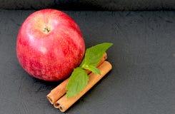 Czerwony jabłko, cynamonowi kije i nowi liście, zdjęcie stock