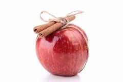 Czerwony jabłko i cynamon zdjęcie royalty free